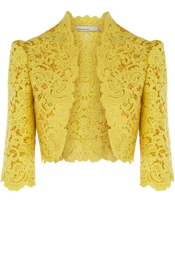 Yellow lace bolero (cropped dressy jacket) by Karen Millen Limited