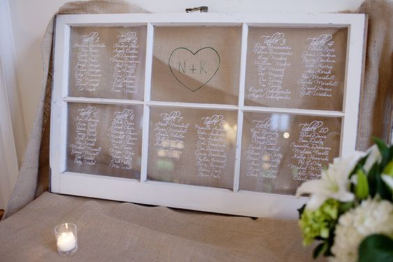 Table assignments - old window frame.  Would need two