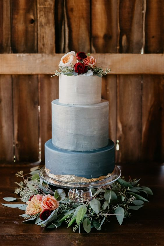 Ombre blue wedding cake