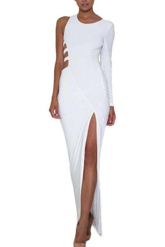 Robes Jersey Maxi Blanc a Manches Longues Decoupe Detail Vente robe maxi,Comparez Choisissez robe maxi Femme | Modebuy.com