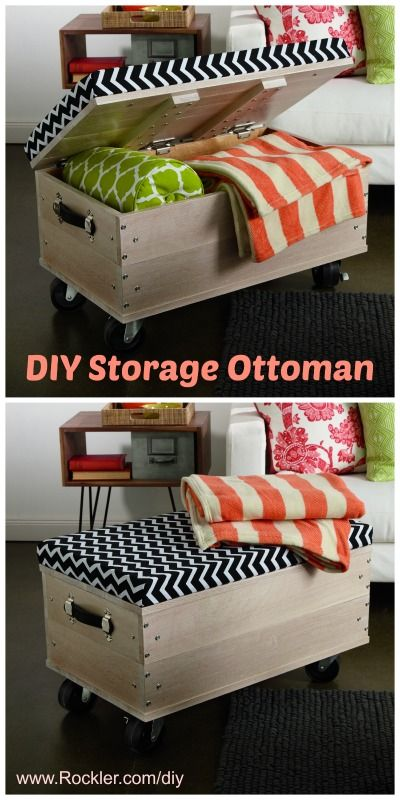 New coffee table? Use reinforced plywood stacking for one end to match tv stand? Free DIY plans: rolling storage ottoman! So cute and easy