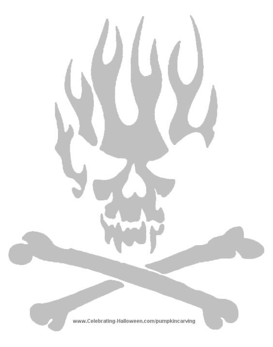Skull on flames free scary halloween pumpkin carving for Free skull pumpkin carving patterns