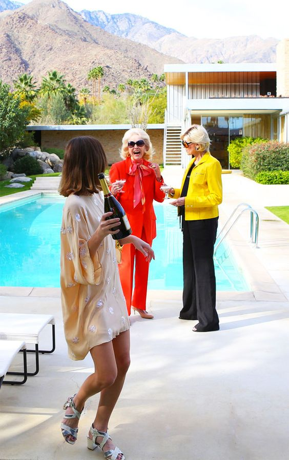 Poolside Gossip Poolside Reunion | photo by Fred Moser of Kelly Golightly, Nelda Linsk and Helen Kaptur at the Kaufamnn House in Palm Sprrings #slimaarons