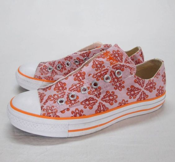 Mosaic Converse Pink Orange Slip On Shoes Womans 8 All Star Oxford No Lace Chuck #Converse #FashionSneakers