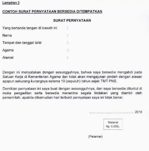 Download Contoh Format Surat Lamaran Pernyataan Seleksi Cpns Kemenag 2018 Kementerian Agama Tips Kesehatan Dan Kecantikan Surat Agama Tanggal