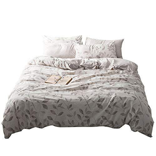 Vm Vougemarket Branch Duvet Cover Set Queen Jersey Knit Cotton Bedding Set Washed Cotton Leaves Bedding Set U Duvet Cover Sets Bed Duvet Covers Comforter Cover