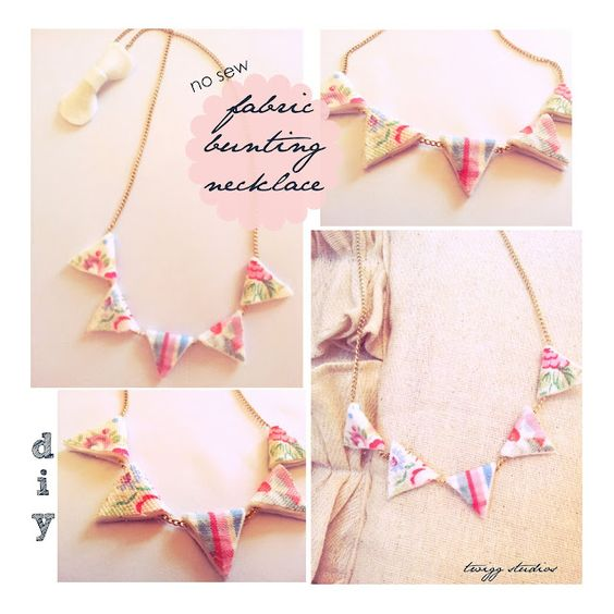 No-sew Fabric bunting necklace #Mother'sDay