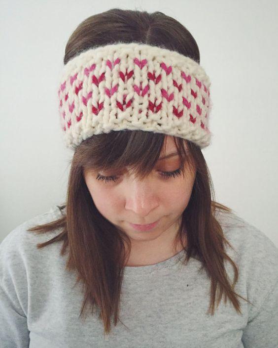 Knit Winter Headband Earwarmer Fair Isle Red Pink Valentine Hearts ...