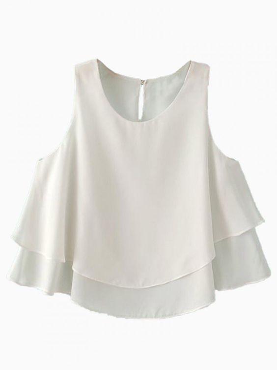White Two Layered Chiffon Crop Top - Choies.com