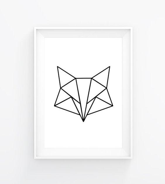 Poster Imprimer Blanc Renard Minimaliste Renard Triangle Poster Geom Trique Cadeau