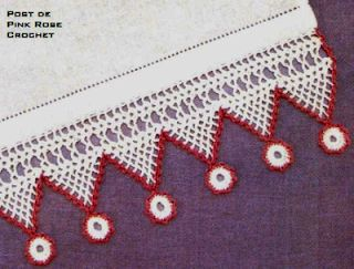 \ PINK ROSE CROCHET /: Barra de Crochê com Triângulos e Círculos