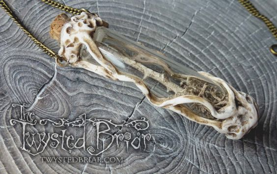 Handcrafted Bone White Petrified Thorn Moss by TheTwystedBriar Handcrafted Bone White Skeleton Leaf and opal Glass Vessel Pendant Necklace Mori Goth Dark Spooky Woodland Fantasy Jewelry Witchcraft Amulet