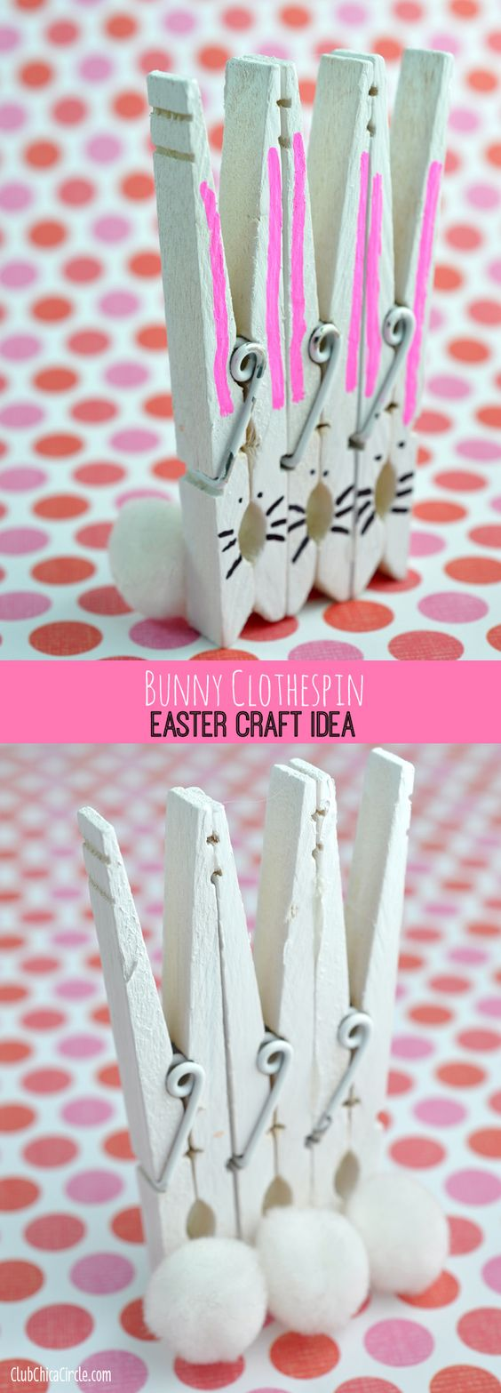 Bunny Clothespins Easter Craft Idea and DIY | Club Chica Circle - where crafty is contagious: