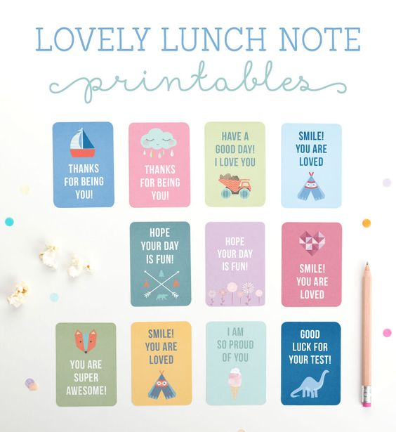 Lovely Lunch Note Printables ~ Tinyme