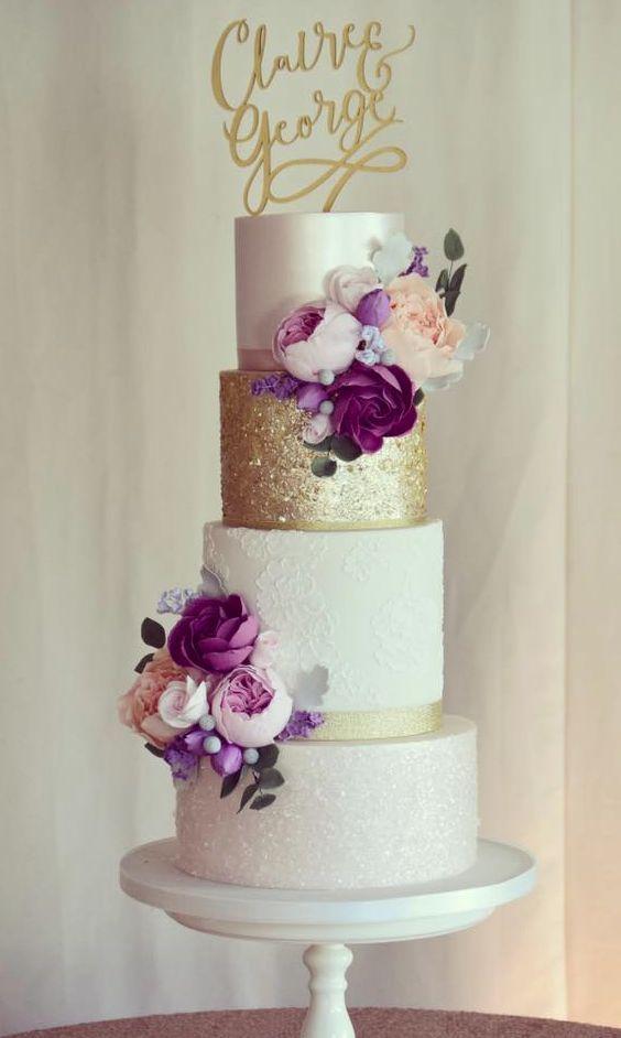 Wedding Cake Inspiration Cotton Crumbs Purple Wedding Cakes