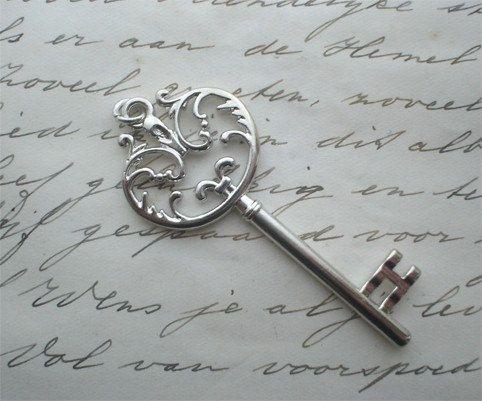 Large skeleton key pendant  gothic steampunk by LeanderOrnaments, $3.75