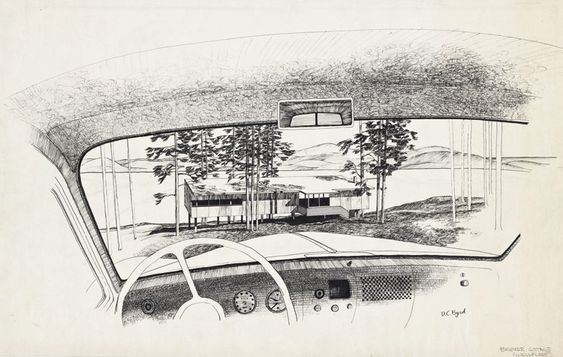 DRAWING OF BREUER COTTAGE THROUGH CAR WINDSHIELD (1949) WELLFLEET MA. | Architecture ...