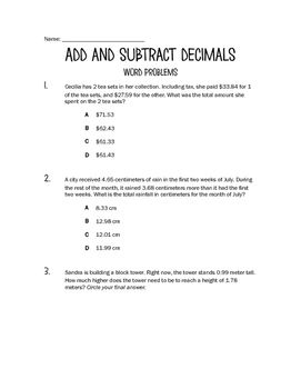 math worksheet : add and subtract decimals word problems  multiple choice word  : Adding Decimals Word Problems Worksheet