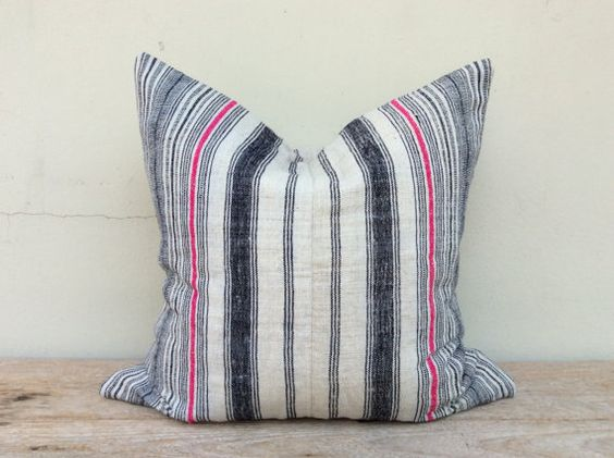 Stripe Pillow Case Nature Hemp Hand Woven A by orientaltribe11