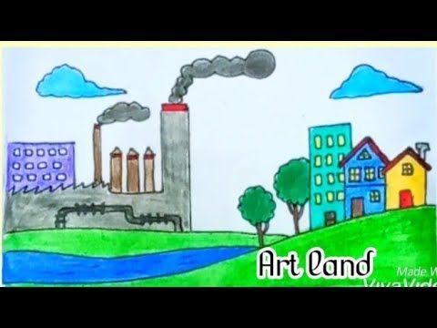 موضوع رسم عن البيئة Pollution In Urban City Drawing Youtube City Drawing Art Urban City
