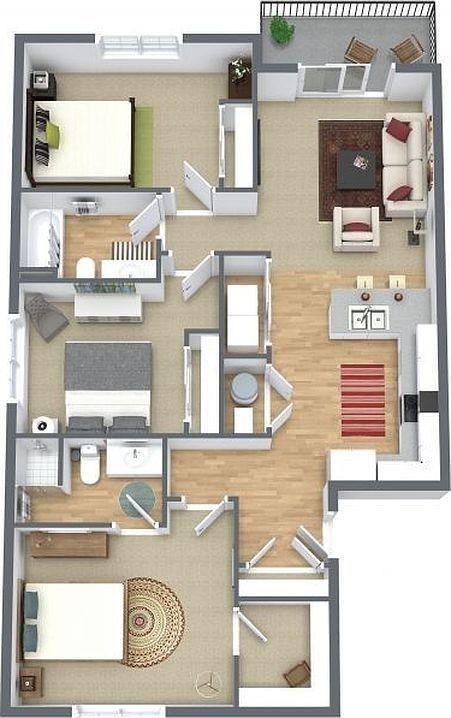 40 Amazing 3 Bedroom 3d Floor Plans Em 2020 Projetos De Casas Simples Projetos De Casas Pequenas Layout De Apartamento