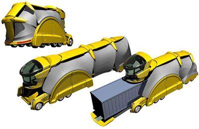 Innovazione Trasporti, Camaleonte camion, Trasporto merci, veicolo futuristico, design futuristico