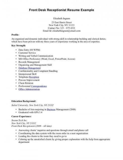 Resume Objective Examples For Gym Receptionist Job Resume Samples Resume Examples Resume