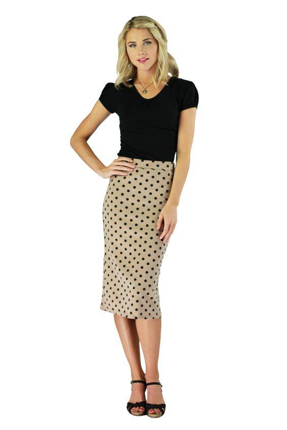 Modest Skirts in Tan Polka Dot