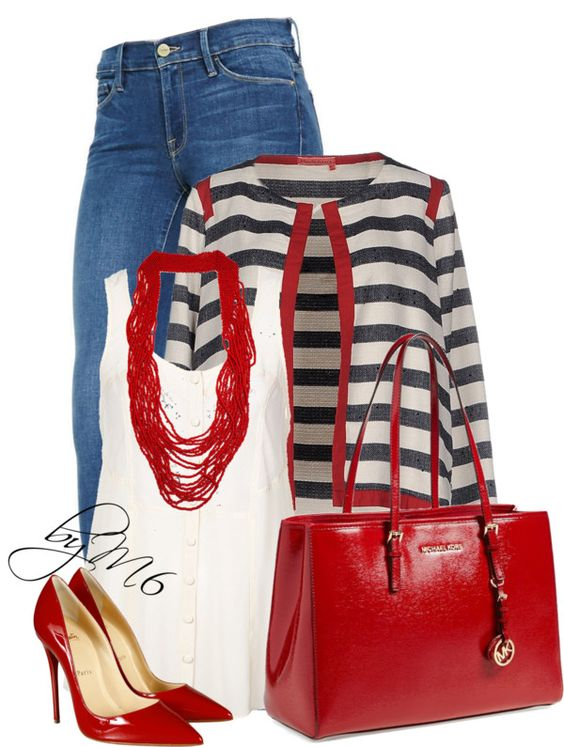Manila Grace Striped Denim Blazer Stylish Outfit