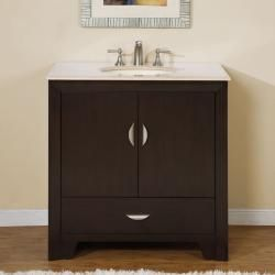 @Overstock - This bathroom vanity offers a full size drawer and double doors storage. Finished with a beveled edge around the exterior and bowl opening, the counter top is available in Crema Marfil marble stone with a pre-installed UPC certified white ceramic bowl.http://www.overstock.com/Home-Garden/Silkroad-Exclusive-36-inch-Marble-Stone-Top-Bathroom-Vanity-Lavatory-Single-Sink-Cabinet/6304599/product.html?CID=214117 $681.99
