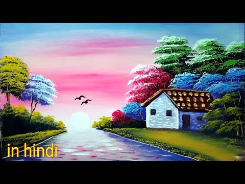 Colourful Evening Autumn Senary Painting Step By Step Painting