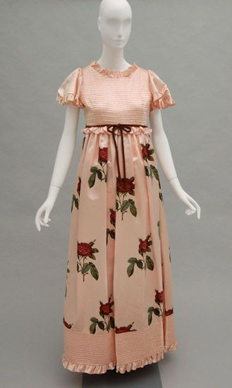 Woman's evening dress, Valentino | Italy, 1970's | Pink synthetic satin; pink, red and green printed synthetic satin | Philadelphia Museum of Art