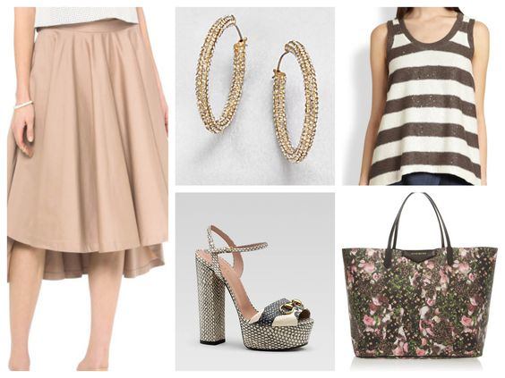 Pumps. Gucci Skirt. Robert Rodriguez Shirt. Brunello Cucinelli Bag. Givenchy Earrings. ABS by Allen Schwartz
