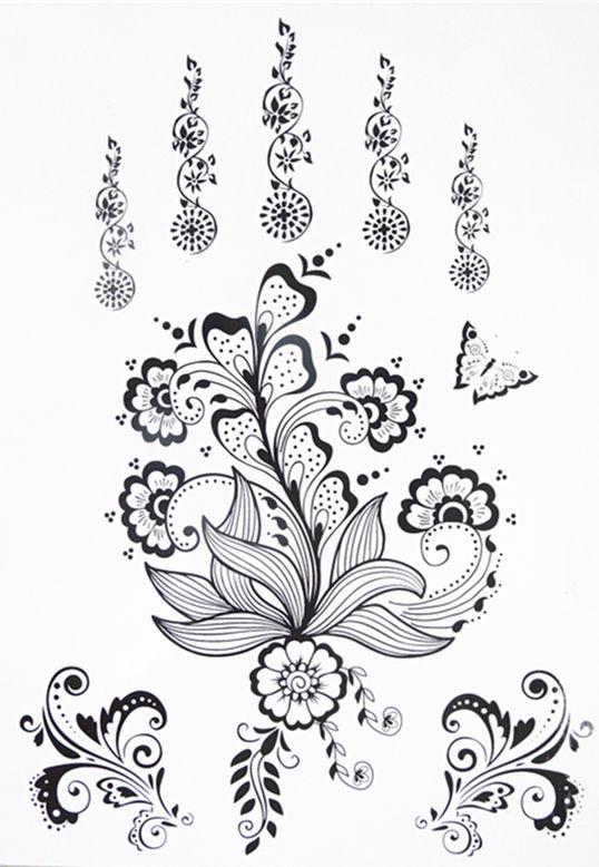 New Design Black Henna Ink Lace Temporary Flash Tattoo Inspired Sticker tattoo flash