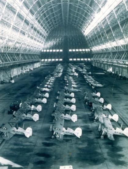 Biplanes inside Hangar One.