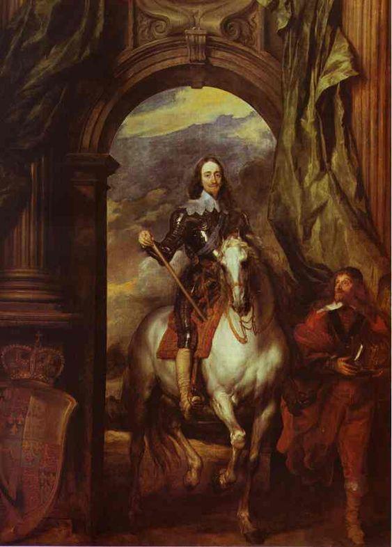 Portrait équestre de Charles 1er, oeuvre de Anthony Van Dick. (1599-1641)