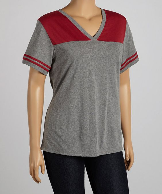 Look what I found on #zulily! Heather & Cardinal Jersey Football Tee - Plus by TROO #zulilyfinds