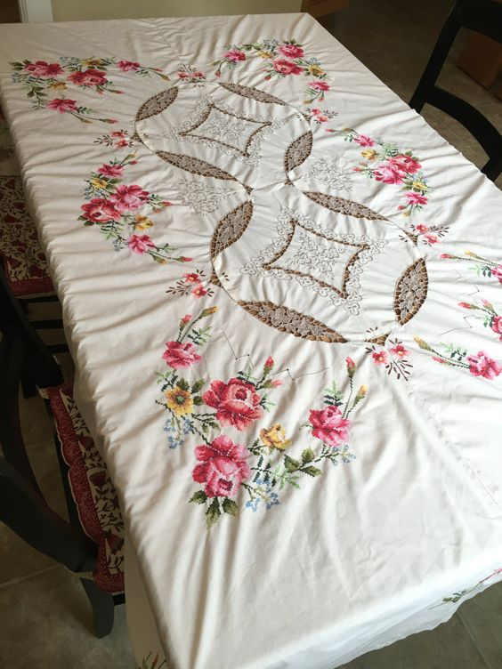 Vintage Embroidered Tablecloth, Embroidered Roses, Open Cut Work, Vintage Table…