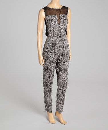 Another great find on #zulily! Black & Cream Abstract Scoop Neck Jumpsuit #zulilyfinds