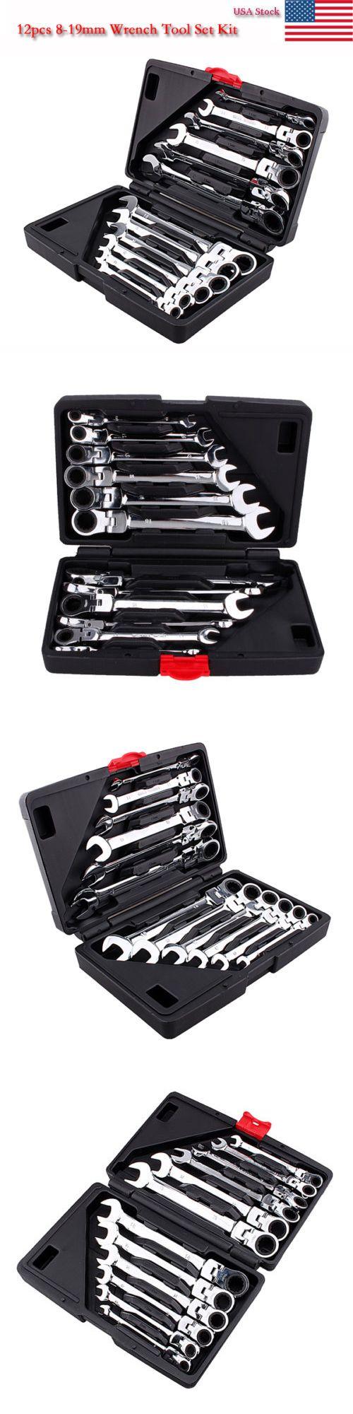 Case 12pcs 8-19 mm Metric Flexible Ratchet Spanner Wrench Tools Set Repair DIY