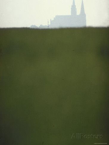 Distant Misty View of Chartres Cathedral Rising over Green Field Photographic Print by Gjon Mili - AllPosters.ca