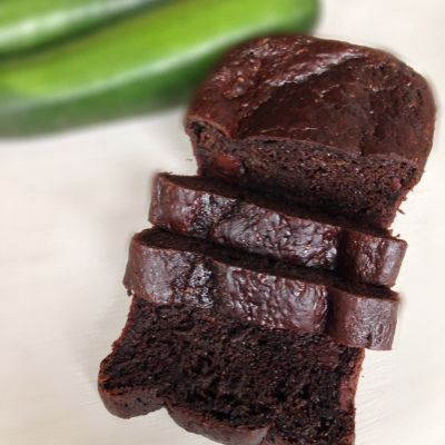 Chocolate Zucchini Bread  Tasty, leave it in the oven for 50+ minutes. Try adding cinnamon and cayenne next time!