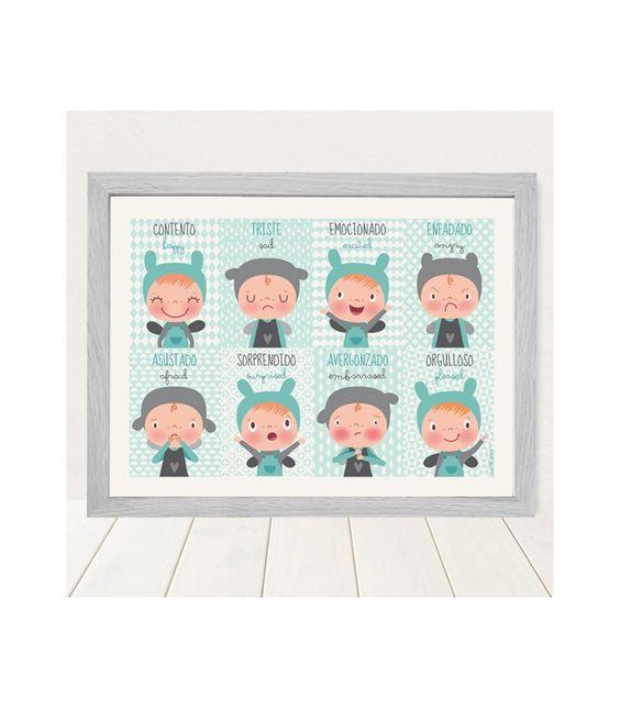 Lámina infantil Las emociones niños para ayudar a tu hijo a identificarlas a la venta en la tienda online de vinilos infantiles decorativos Decohappy.
