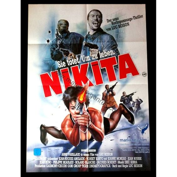 film nikita luc besson | NIKITA Affiche Allemande '90 Anne Parillaud, Luc Besson, Movie Poster
