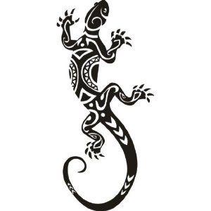 gecko maori aufkleber wandbild wandtattoo deko 2 meter. Black Bedroom Furniture Sets. Home Design Ideas