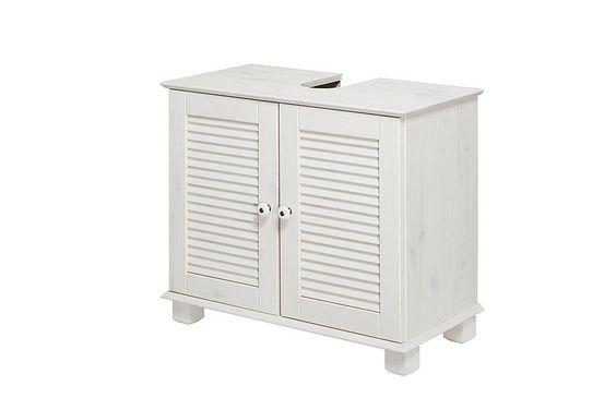 Waschbeckenunterschrank »Sund« für 89,99€. Mit Porzellanknäufen, Hochwertige Verarbeitung mit Lamellen, Aus massivem Kiefernholz, FSC-zertifiziert bei OTTO