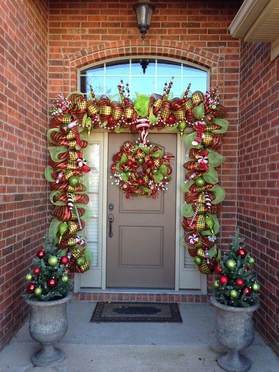 Trees Decorated Deco Mesh Garland Christmas Deco Mesh