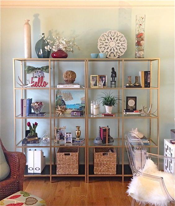 ikea vittsjo shelves painted gold for the new office. Black Bedroom Furniture Sets. Home Design Ideas