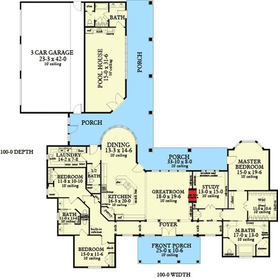 Plan 62134V: Ranch Home with Pool House   Pool houses, Ranch homes ...