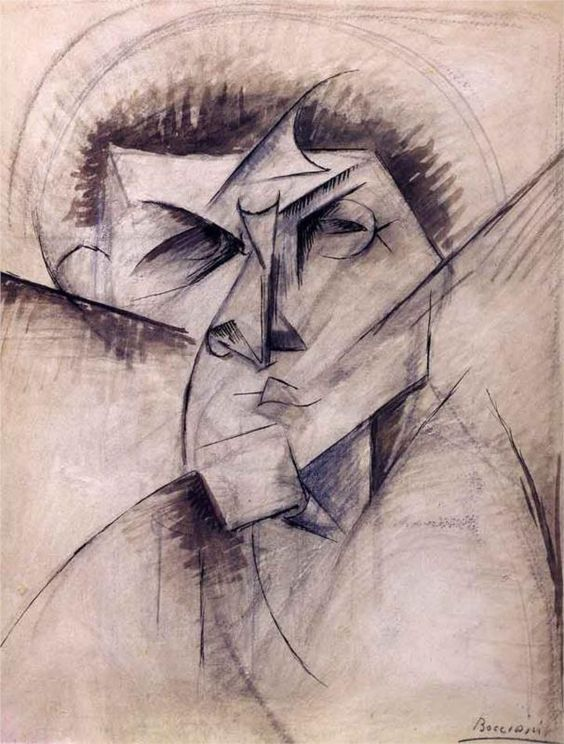 Umberto Boccioni. Study for sculpture 'Empty and full abstracts of a head', 1912.